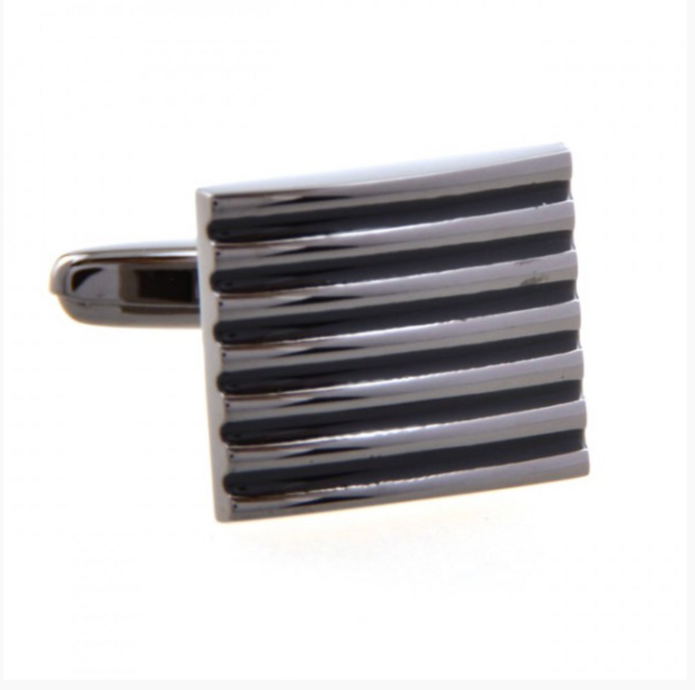 Black - Concave Convex Strips Cuff Links