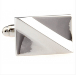 Silver - Diagonal Curve Cuff Links
