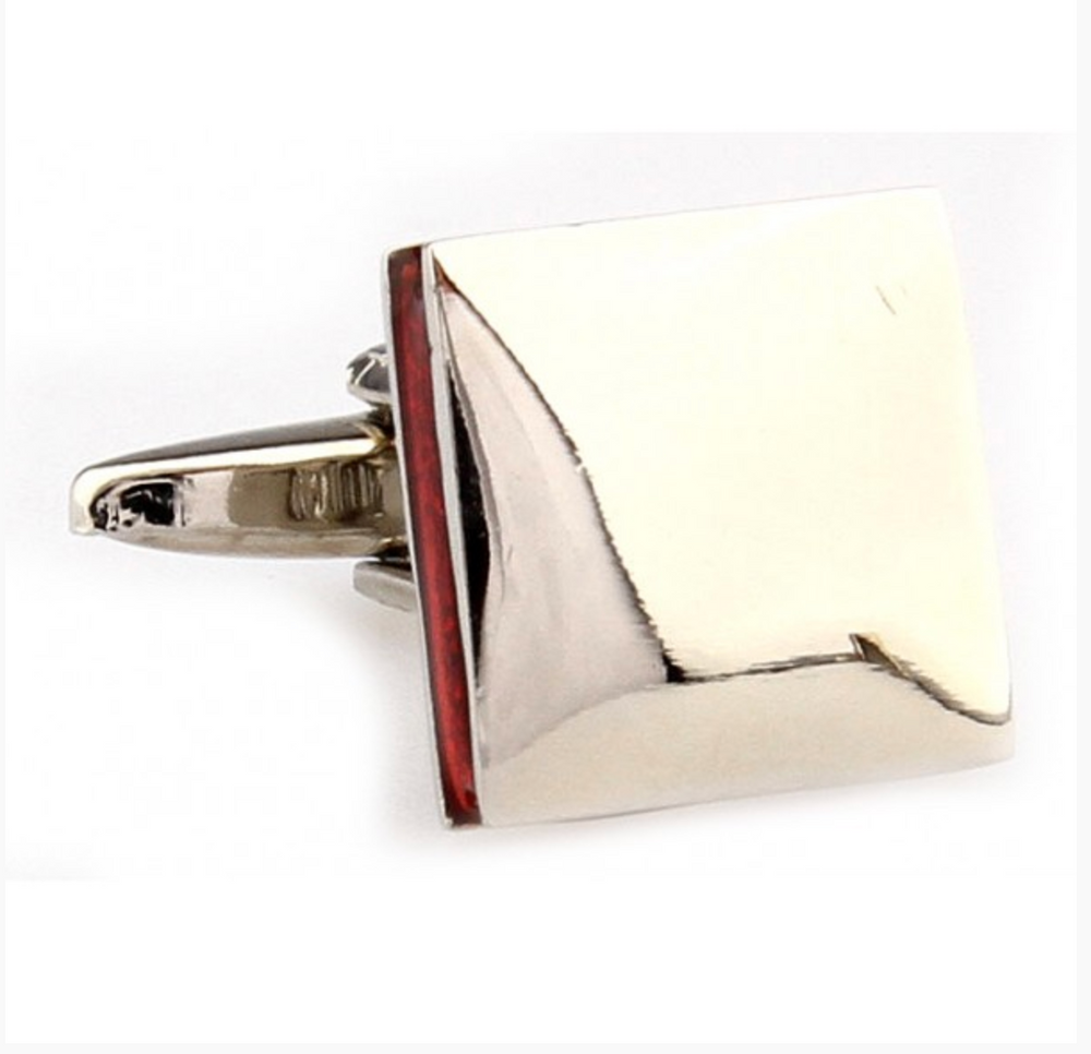 Silver/Red - Inner lined Square Cuff Links