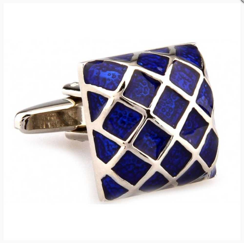 Silver/Blue - Enamel Grill Square Cuff Links