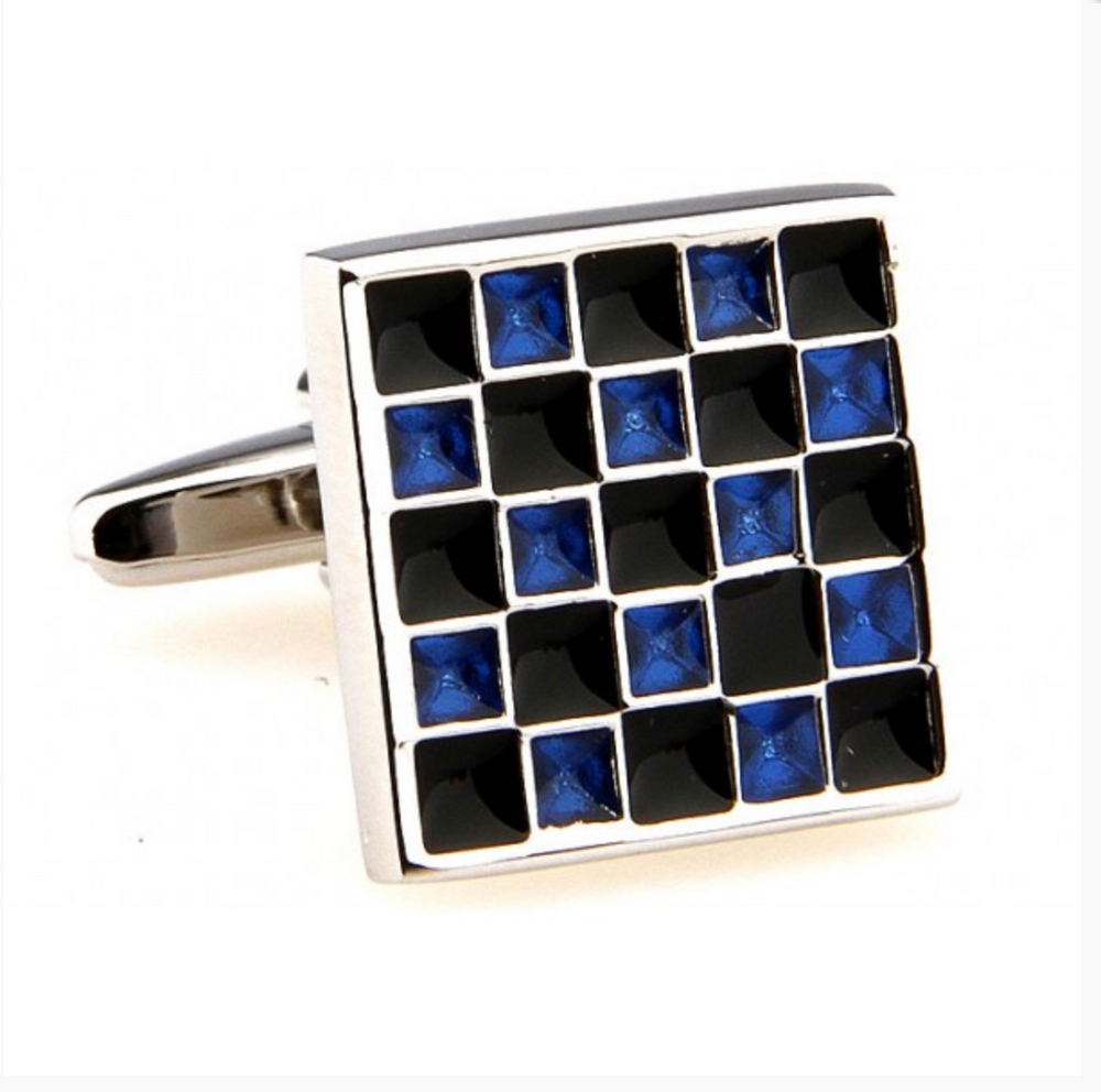 Silver/Black/Blue - Mosaic Square Cuff Links