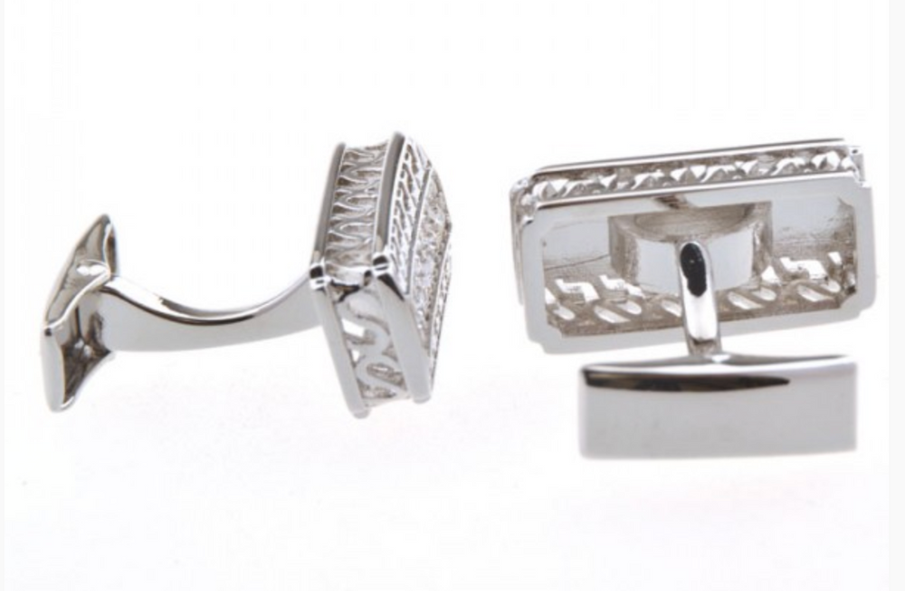 Silver - Crystal Hellenic Rectangle Cuff Links