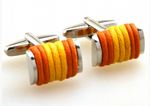 Silver/Orange/Gold - Roped Cuff Links