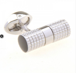 Silver/Black - Tubular Gridded Cuff Links