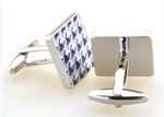 Silver/Blue/White - Houndstooth Enamel Cuff Links