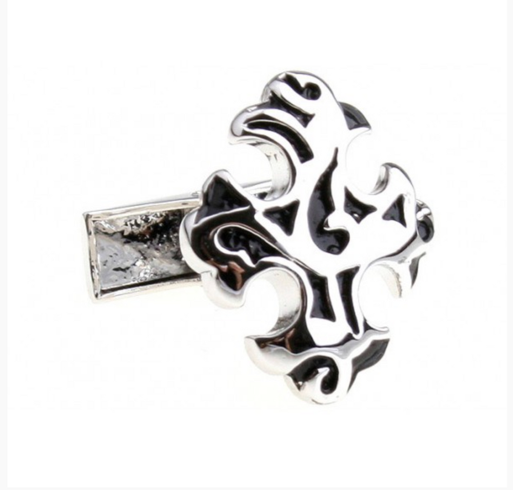 Silver/Black - Antique Cross Cuff Links