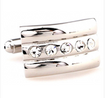 Silver - Crystal Curved Cuff Links