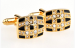 Gold/Black - Crystal Rectangle Cuff Links