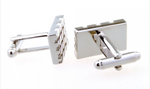Silver - Rectangle Gridded Cuff Links