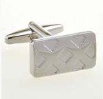 Silver - Double X Check Cuff Links