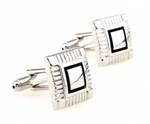 Silver/Black - Framed Square Cuff Links