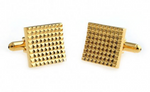 Gold - Gridded Square Cuff Links