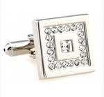 Silver - Crystal Framed Square Cuff Links