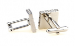 Silver - Multi Crystal Square Cuff Links