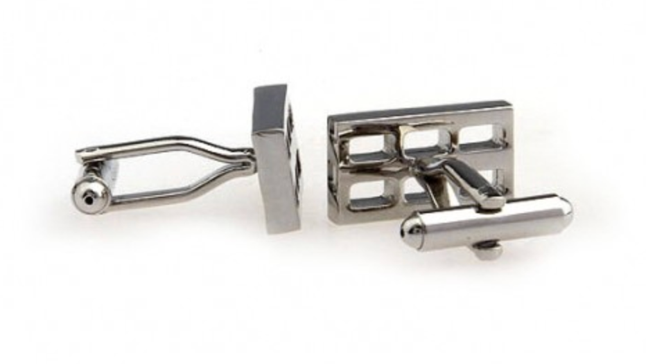 Silver - Hollow Rectangle Cuff Links