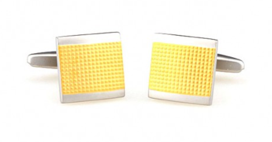Silver/Gold - Gridded Square Cuff Links