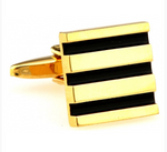 Gold/Black - Striped Square Cuff Links
