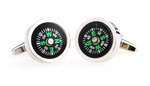 Silver/Black - Compass Cuff Links