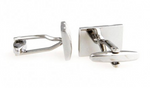 Silver - Gridded Rectangle Cuff Links