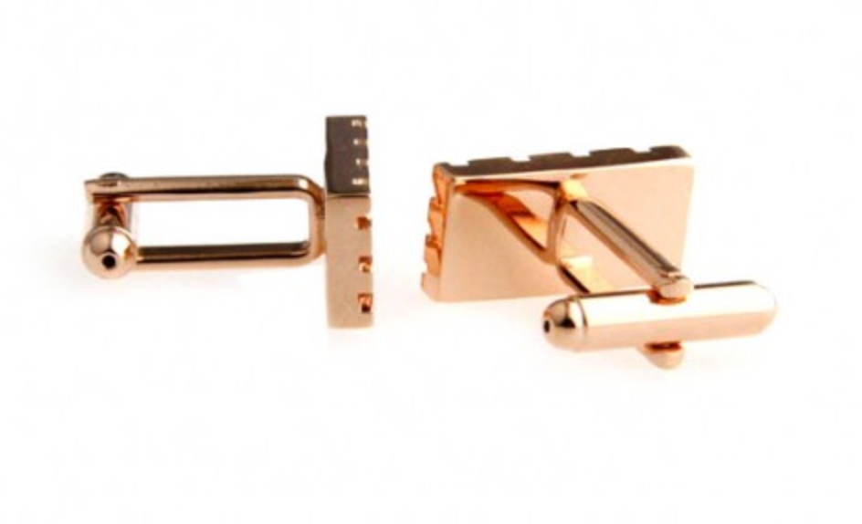 Rose Gold - Gridded Cuff Links
