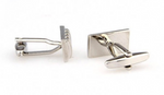 Silver - Concave Convex Rectangle Cuff Links