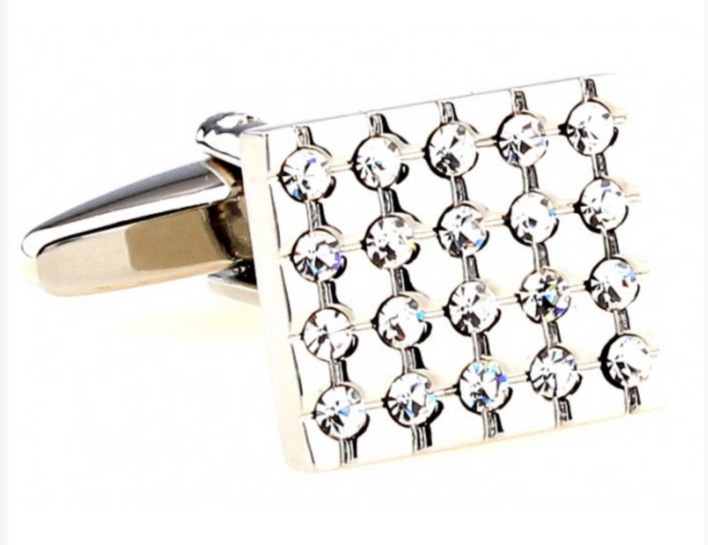 Silver - Crystal Cuff Links