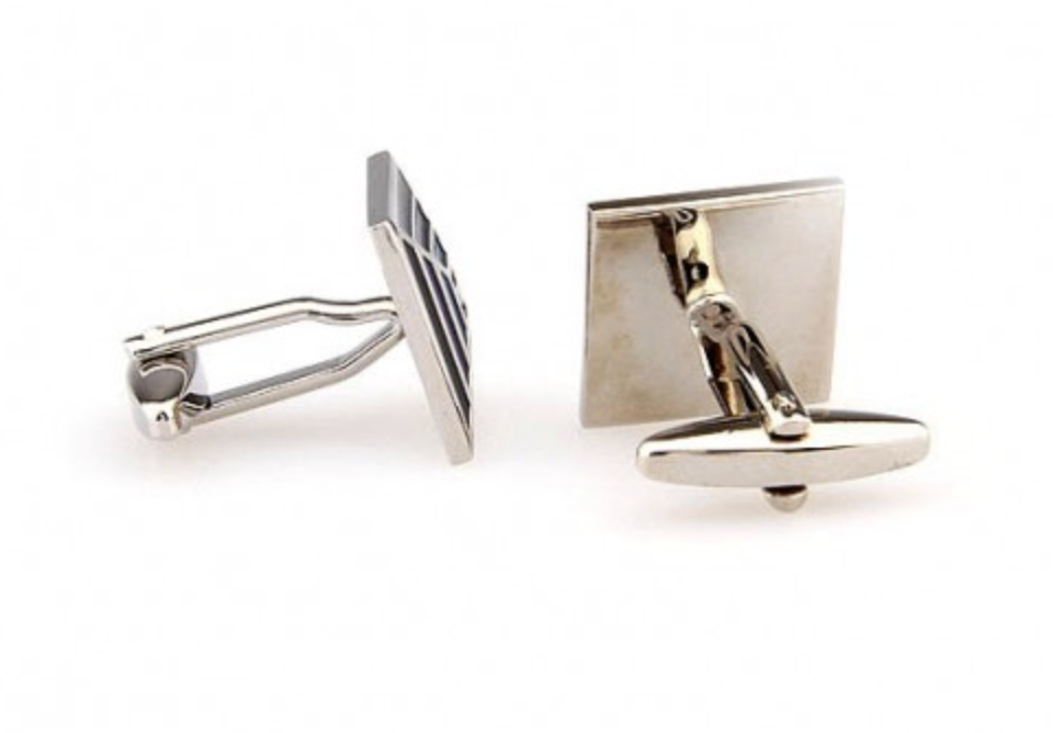 Silver/Black/Blue - Pyramid Cuff Links