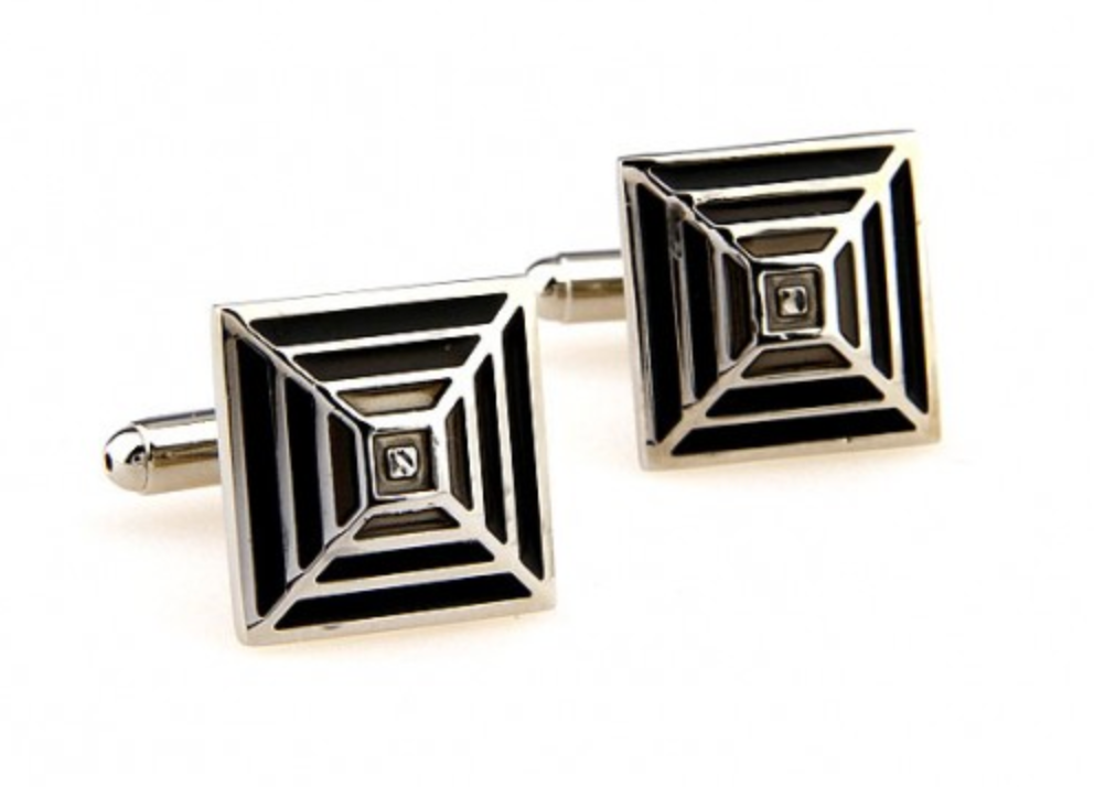 Silver/Black/Grey - Pyramid Cuff Links
