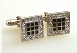 Silver/Black - Crystal Square Cuff Links