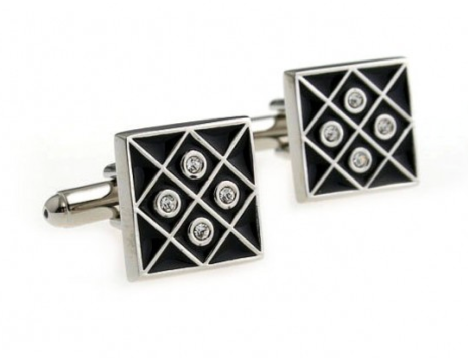 Silver/Black - Crystal Gridded Cuff Links