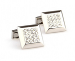 Silver - Crystal Square Cuff Links
