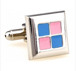 Copy of Silver/Pink/Blue - Check Square Cuff Links