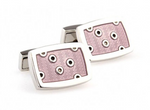 Silver/Pink - Spotted Cuff Links