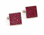 Silver/Pink -Enamel Square Cuff Links