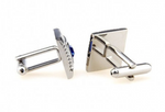 Silver/Black/Blue - Crystal Framed Square Cuff Links