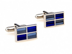 Silver/Blue - Rectangle Cuff Links