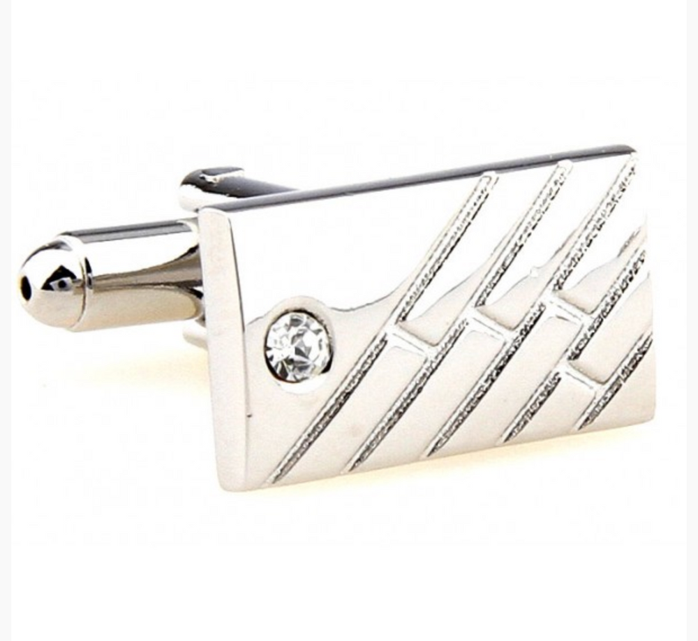 Silver - Crystal Rectangle Cuff Links