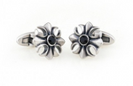 Silver/Black - Vintage Crystal Flower Cuff Links