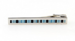 Silver/Blue - Striped Tie Bar