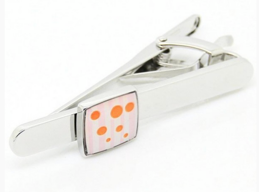 Silver/Orange - Tie Bar