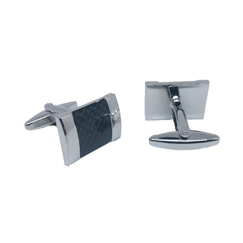 Silver - Carbon Fibre Shiny Rectangle Cuff Links