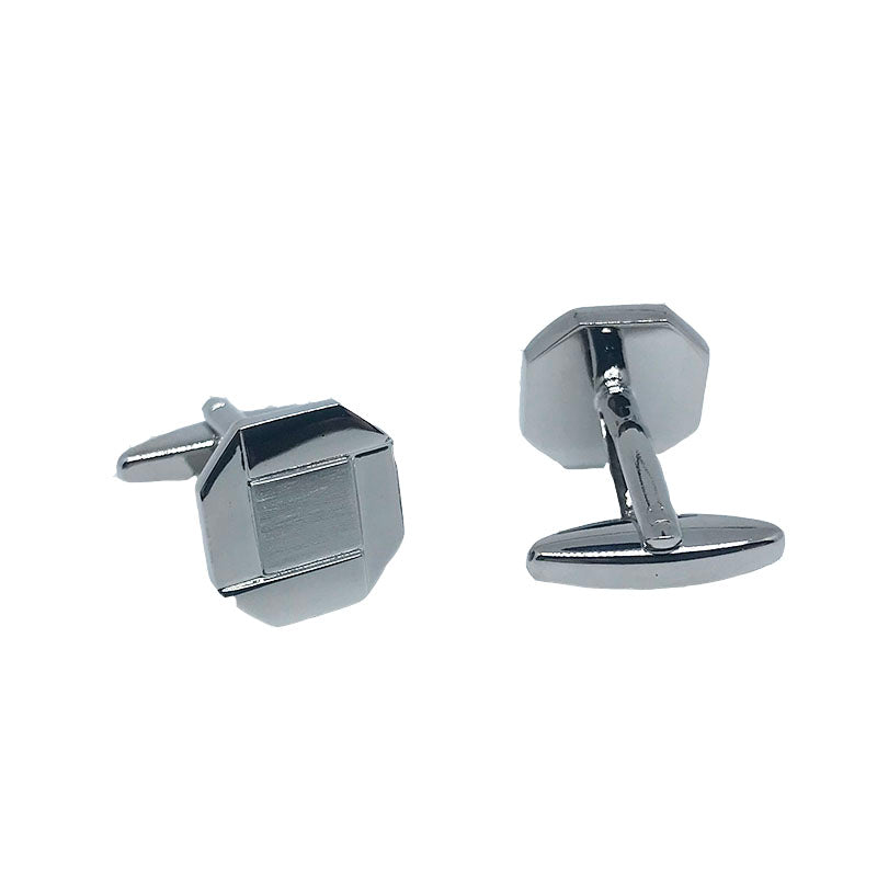 Silver - Square Octagon shaped Cuff Links