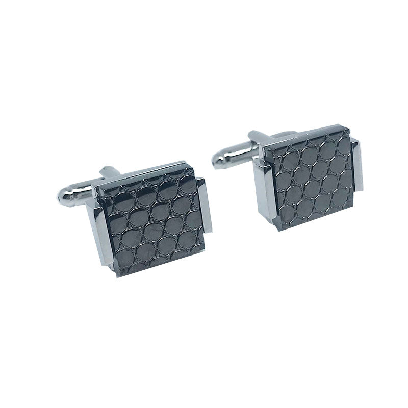 Silver - Charcoal Circular Design Insert Rectangle Shiny Cuff Links