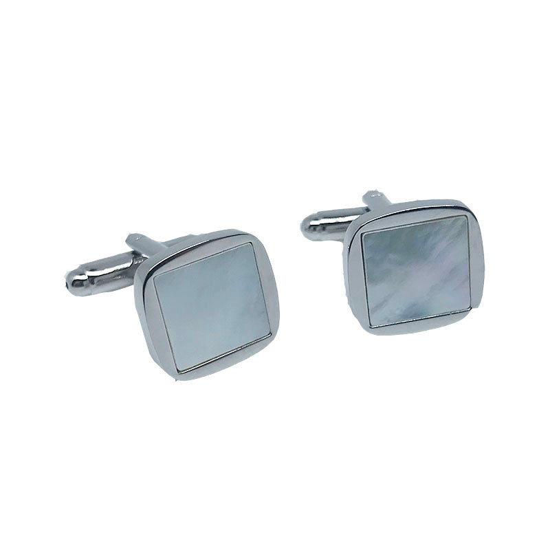 Silver - Square Rounded edged Mother Of Pearl Cuff Links