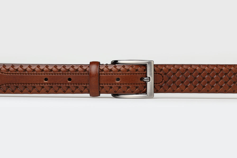Dark Tan - Platted Weave Leather Belt