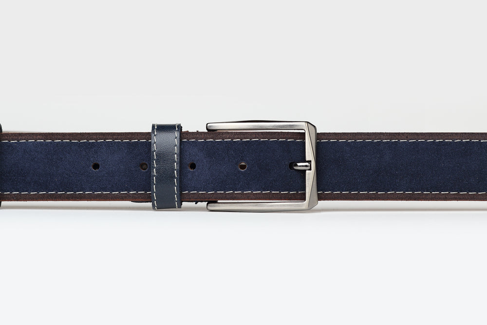 Navy/Brown - Two Tone Suede Leather Belt