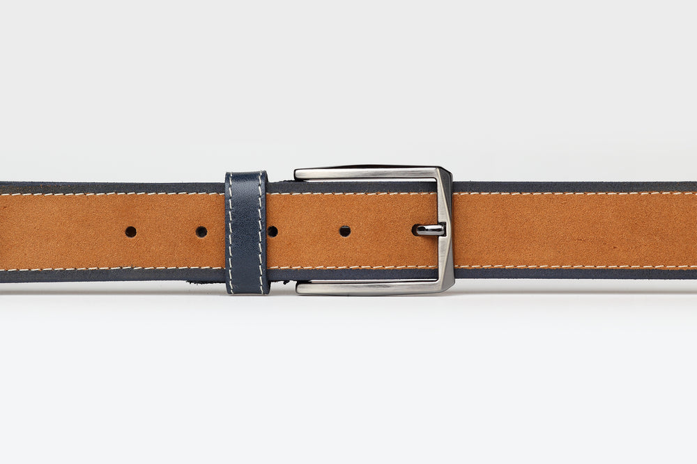 Mustard/Navy - Two Tone Suede Leather Belt