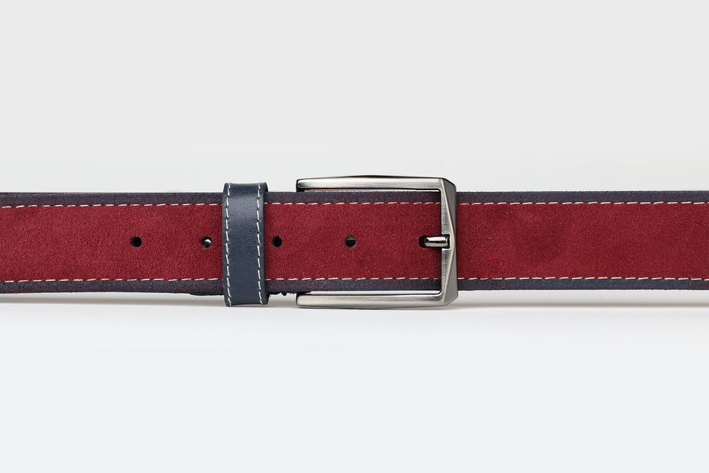 Burgundy/Navy - Two Tone Suede Leather Belt