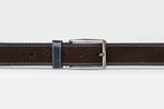 Brown/Navy - Two Tone Suede Leather Belt
