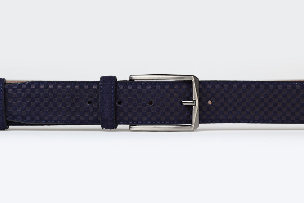 Dark Blue  - Embossed Suede Leather Belt